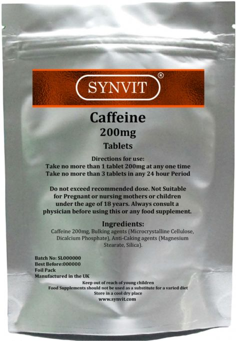 Caffeine 200mg Pre Workout stimulant Energy boost SYNVIT® 100 250 500 tablets